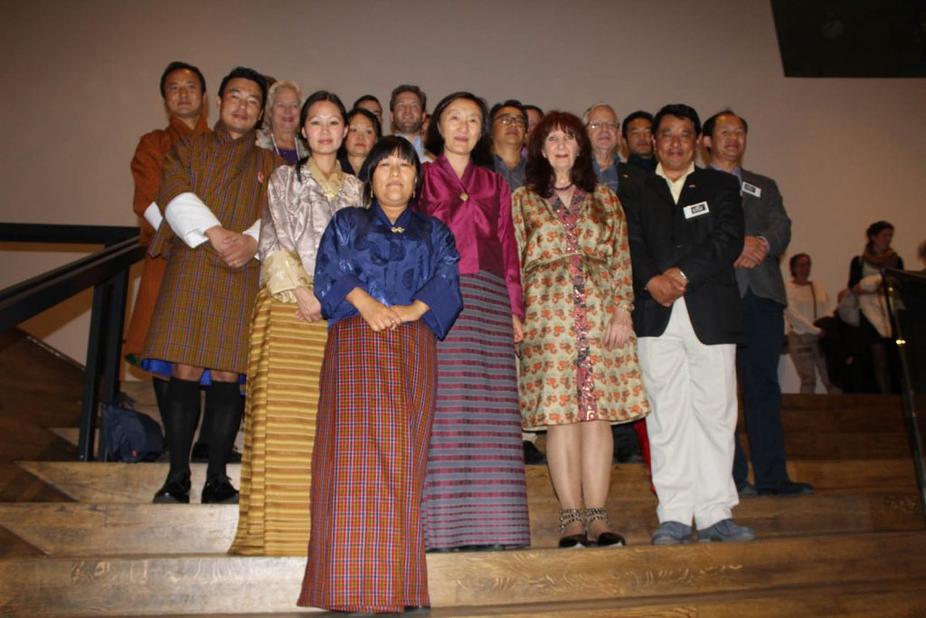 Bhutanese delegation for opening film Hema Hema: Sing Me a Song While I Wait with director Babeth VanLoo